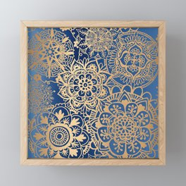 Blue and Gold Mandala Pattern Framed Mini Art Print