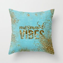 Mermaid Vibes - Gold Glitter On Teal Throw Pillow
