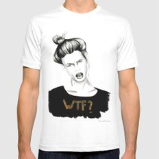 WTF? White Mens Fitted Tee MEDIUM