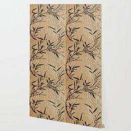 Japanese bamboo buddha wood art Wallpaper