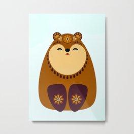 Folkloric Christmas Brown Bear Metal Print