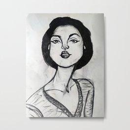 Stylized Charcoal Portrait Sketch Metal Print