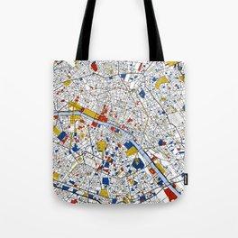 Paris Mondrian Map Art Tote Bag