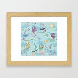 Mermaids, Sea and Boats Pattern Framed Art Print