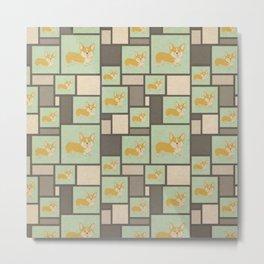 Quirky Corgi Kraft Present Gift Wrap Wrapping Paper Metal Print