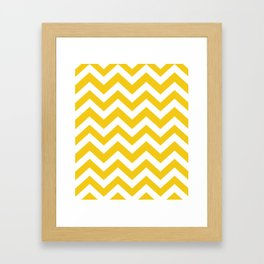 Jonquil - yellow color - Zigzag Chevron Pattern Framed Art Print