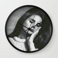 cocaine Wall Clocks featuring cocaine heart by Grace Teaney Art