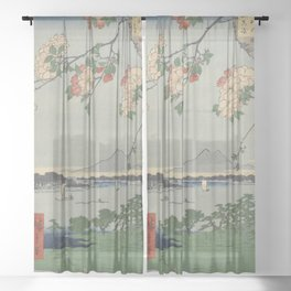 Cherry Blossoms on Spring River Ukiyo-e Japanese Art Sheer Curtain
