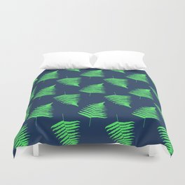 Navy and Lime Fern Pattern Duvet Cover