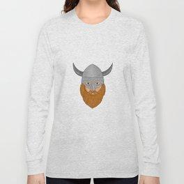 Viking Warrior Head Drawing Long Sleeve T-shirt