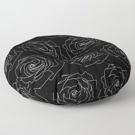 Black with White Rose Pattern Thin Lines Floor Pillow