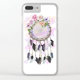 Dream Catcher, Catching Dreams, To Catch A Dream, Feathers and Flowers Dream Catcher Clear iPhone Case