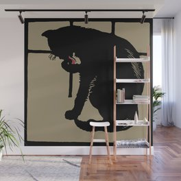 Black cat modern woodcut style Wall Mural