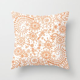 Graphic Ink Doodles (orange) Throw Pillow