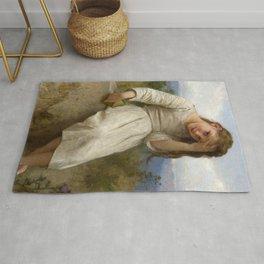 "William-Adolphe Bouguereau ""La Petite Maraudeuse (The Little Thief)"" Rug"