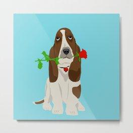 Basset Hound Dog in Love Metal Print