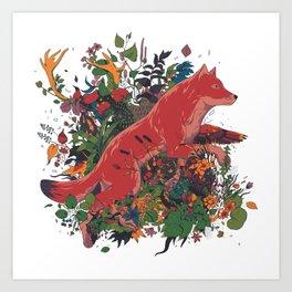 dream of red wolf Art Print