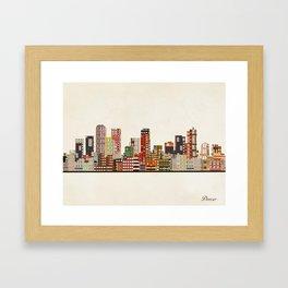 denver colorado skyline Framed Art Print