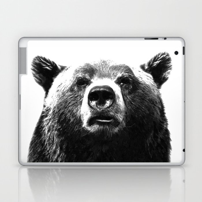 Black and white bear portrait Laptop & iPad Skin