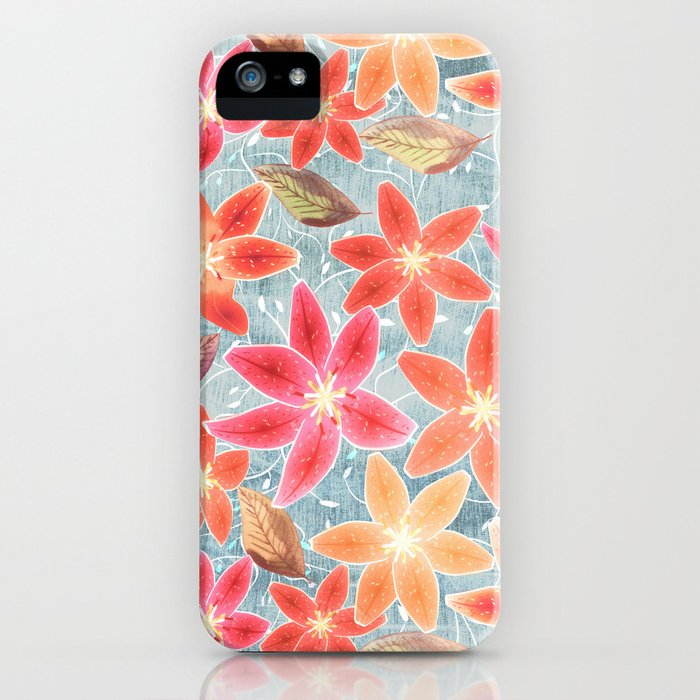 Cute Lilies and Leaves iPhone Case