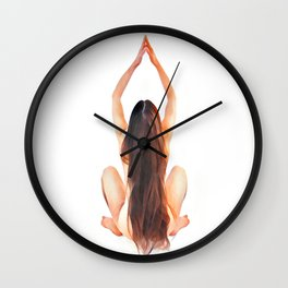 6828s-JAL Long Hair Nude Model Avonelle Rear View Rapunzel Rendered as Watercolor by Chris Maher Wall Clock