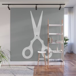 Grey Scissors Wall Mural
