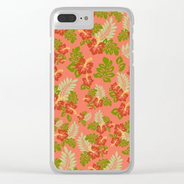 Hawaiian Pattern - Red Clear iPhone Case