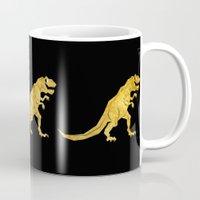 trex Mugs featuring Golden T.Rex Pattern by chobopop