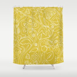 Garden Floral Drawing on Yellow Shower Curtain