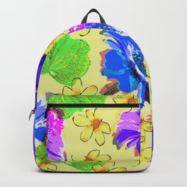 Flowers collage lilac yellow Backpack