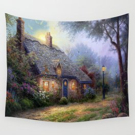 Moonlight Cottage Wall Tapestry