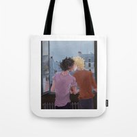 grantaire Tote Bags featuring Enjolras, Grantaire and twilight over Paris by icarusdrunk