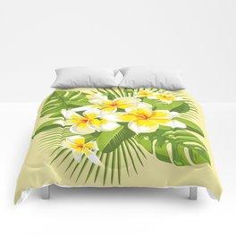 Tropical Bouquet. Plumeria Comforters