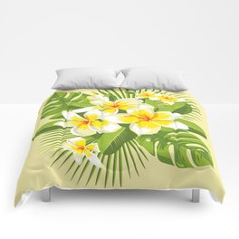 Tropical Bouquet. Plumeria Comforters