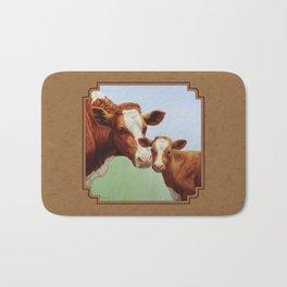 Guernsey Cow and Cute Calf Bath Mat