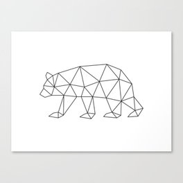 Geometric Bear in Black and White Canvas Print