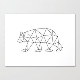Geometric Bear in Black and White Canvas Print