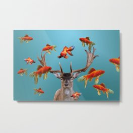 Deer with goldfishes swimming around Metal Print