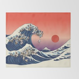 The Great Wave Of  French Bulldog Throw Blanket
