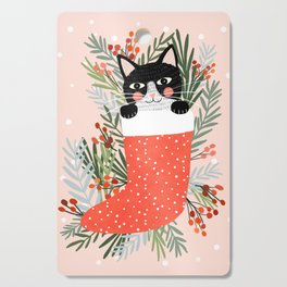 Cat on a sock. Holiday. Christmas Cutting Board