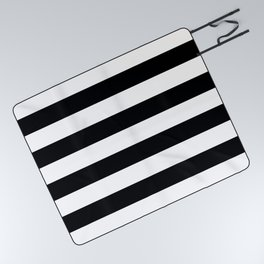 Stripe Black And White Horizontal Line Bold Minimalism Picnic Blanket