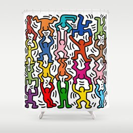Homage to Keith Haring Acrobats II Shower Curtain