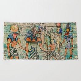 Egyptian Gods on canvas Beach Towel