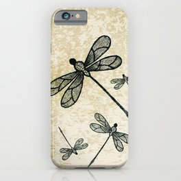 Dragonflies on tan texture iPhone Case