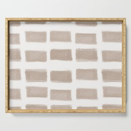 Brush Strokes Horizontal Lines Nude on Off White Serving Tray