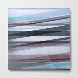Semi Transparent Layers In Pale Blue Burgundy and Black Metal Print
