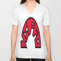 hippo V-neck T-shirts featuring Hippo by JDHicks