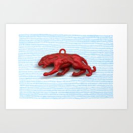 Red panther on blue grass Art Print