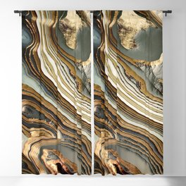 White Gold Agate Abstract Blackout Curtain