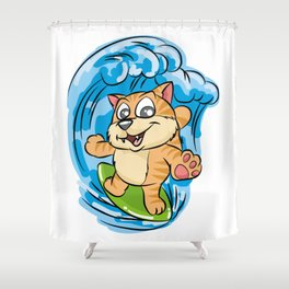 SURFING KITTY Cat Wave Surfboard Cartoon Comic Shower Curtain